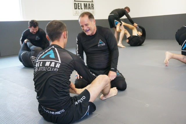 students practice no-gi jiu-jitsu